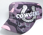 Wholesale Rhinestone Cowgirl Bling Cadet Hats - Pink Camo
