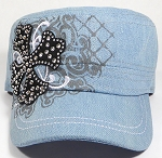Wholesale Short Cross Cadet Rhinestone Hats - Light Denim