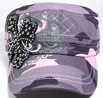 Wholesale Short Cross Cadet Rhinestone Hats - Pink Camo