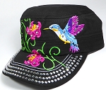 Wholesale Rhinestone Hummingbird Castro Hat - Black