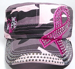Wholesale Rhinestone Pink Ribbon Castro Hats - Hope - Pink Camo
