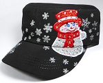 Wholesale Rhinestone Winter Snowman Fashion Cadet Hats - Black