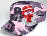 Wholesale Rhinestone Winter Snowman Fashion Cadet Hats - Pink Camo
