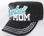 Wholesale Rhinestone Baseball MOM Cadet Cap - Black