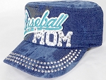Wholesale Rhinestone Baseball MOM Cadet Cap - Splash Dark Denim