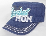 Wholesale Rhinestone Baseball MOM Cadet Cap - Dark Denim