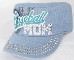 Wholesale Rhinestone Baseball MOM Cadet Cap - Light Denim