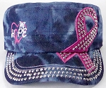 Wholesale Rhinestone Pink Ribbon Castro Hat - Hope - Splash Dark Denim