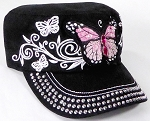 Wholesale Rhinestone Cadet Cap - Butterfly - Black