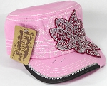Wholesale Rhinestone Distressed Cadet Cap - Leaf - Light Pink
