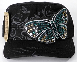 Rhinestone Butterfly Vintage Cadet Hats Wholesale - Black