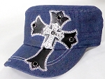 Wholesale Rhinestone Cadet Cap - Leather Cross - Dark Denim