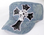 Wholesale Rhinestone Cadet Cap - Leather Cross - Light Splash Denim
