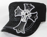 Wholesale Rhinestone Cadet Cap - Leather Cross - Black