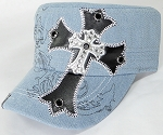 Wholesale Rhinestone Cadet Cap - Leather Cross - Light Denim