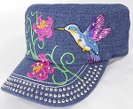 Wholesale Rhinestone Hummingbird Castro Hat - Dark Denim