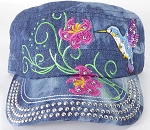 Wholesale Rhinestone Hummingbird Cadet Hats - Splash Dark Denim