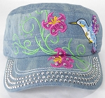 Wholesale Rhinestone Hummingbird Cadet Hats - Splash Light Denim