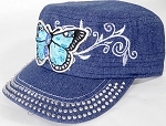 Wholesale Rhinestone Cadet Caps - Butterfly - Dark Denim