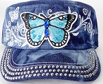 Wholesale Rhinestone Cadet Cap - Butterfly - Splash Dark Denim