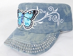 Wholesale Rhinestone Cadet Cap - Butterfly - Splash Light Denim