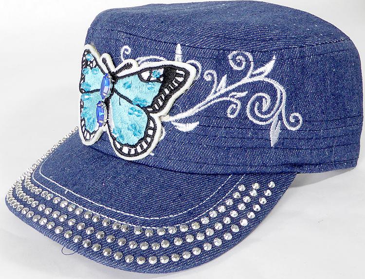 129e59e16fe Wholesale Rhinestone Cadet Caps - Butterfly - Dark Denim. Rhinestone Cap -  Butterfly