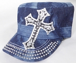 Wholesale Rhinestone Cadet Hat - Cross - Splash Dark Denim