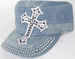 Wholesale Rhinestone Cadet Hat - Cross - Splash Light Denim