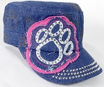 Wholesale Rhinestone Paw Castro Hat - Dark Denim