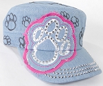 Wholesale Rhinestone Paw Cadet Hats - Light Denim