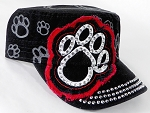 Wholesale Rhinestone Paw Cadet Hats - Black