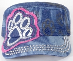 Wholesale Rhinestone Paw Cadet Hats - Splash Dark Denim