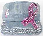 Wholesale Rhinestone Pink Ribbon Castro Hat - Hope - Splash Light Denim