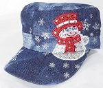 Wholesale Rhinestone Winter Snowman Fashion Cadet Hats - Splash Dark Denim