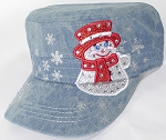 Wholesale Rhinestone Winter Snowman Fashion Cadet Hats - Splash Light Denim