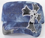 Wholesale Rhinestone Cadet Cap - Leather Cross - Dark Splash Denim
