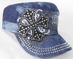 Wholesale Short Cross Cadet Rhinestone Hats - Splash Dark Denim