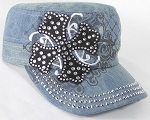 Wholesale Short Cross Cadet Rhinestone Hats - Splash Light Denim