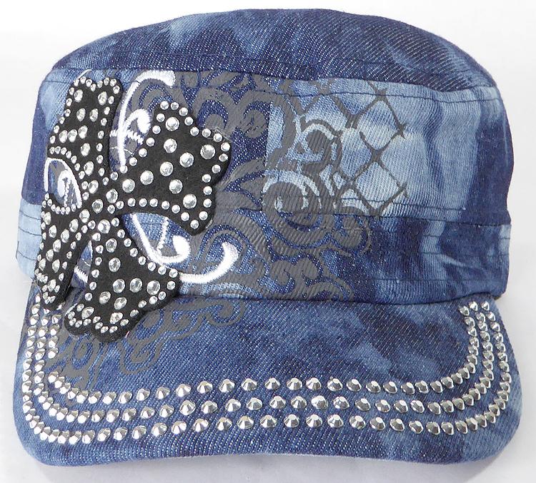 Wholesale Short Cross Cadet Rhinestone Hats Splash Dark