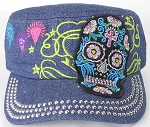 Wholesale Rhinestone Castro Cap - Blue Sugar Skull - Dark Denim