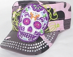 Wholesale Rhinestone Castro Cap - Sugar Skull Purple Outline - Pink Camo