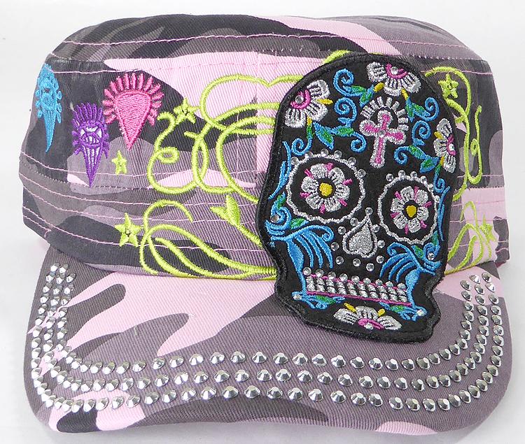 Wholesale Rhinestone Castro Cap - Blue Sugar Skull - Pink Camo f065bcc2f2
