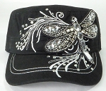 Wholesale Rhinestone Cadet Cap - Dragonfly - Black