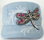 Wholesale Rhinestone Cadet Cap - Dragonfly - Light Denim