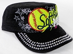 Wholesale Rhinestone Softball MOM Cadet Cap - Black