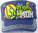 Wholesale Rhinestone Softball MOM Cadet Caps - Dark Denim