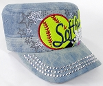 Wholesale Rhinestone Softball MOM Cadet Cap - Splash Light Denim