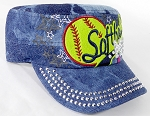 Wholesale Rhinestone Softball MOM Cadet Cap - Splash Dark Denim