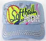 Wholesale Rhinestone Softball MOM Cadet Caps - Light Denim