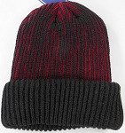 Wholesale Winter Sideline Ribbed Cuff Beanie - Red
